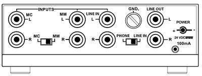 NAD PP3 draaitafelvoorversterker - achterzijde