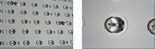 Zo ziet Full LED backlight er uit in een Sharp televisie, met duidelijk zichtbaar de lenzen rondom de LEDs