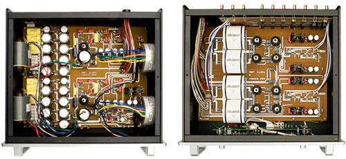 De binnenkant van voeding en audio-circuit. Duidelijk te zien is de dubbel-mono opzet in beide kasten